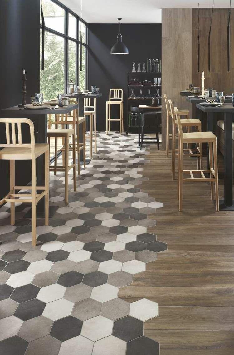 Revetement De Sol Original carrelage hexagonal tendance- idées de couleurs et designs