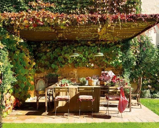terrasse ideen gestalten überdachung kletterpflanzen begrünen - terrasse gestalten ideen stile