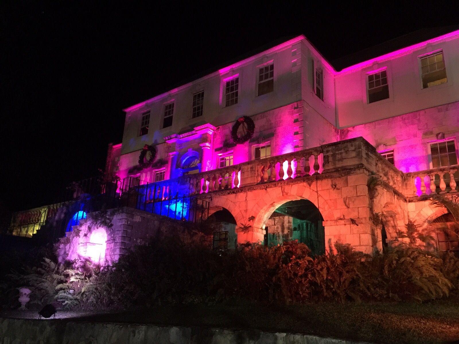 Uplighting at the Greathouse! #TeamJWDJ #JamaicaWeddingDJ #reggaetech #weddings #events #outdoor #DJVaun