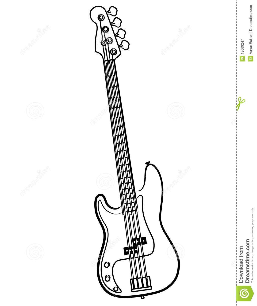 Illustration About A Simple Electric Bass Guitar Line Art Illustration Vector Or Bitmap Illustration Of Line Blac Bass Guitar Electric Bass Line Art Vector