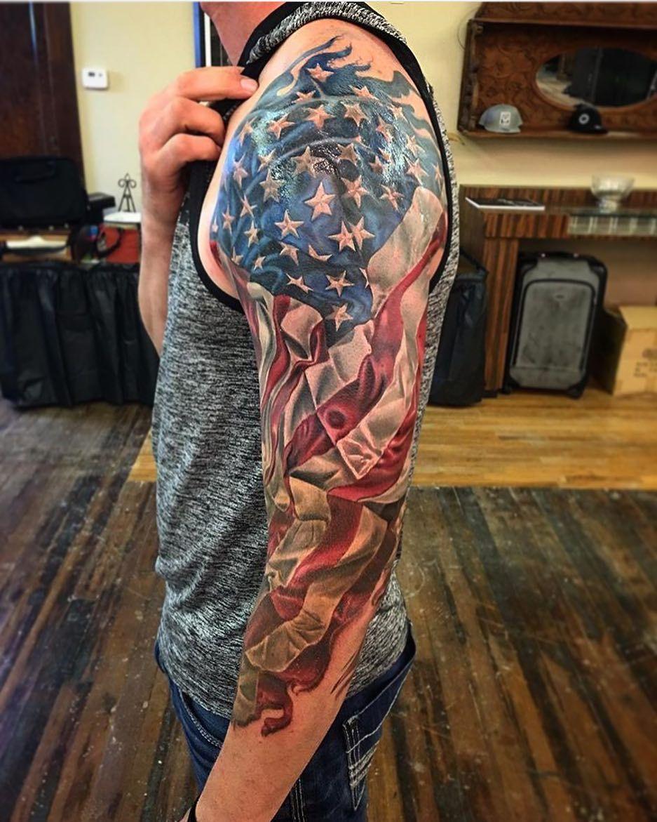 American Flag Half Sleeve : american, sleeve, American, Sleeve, Progress, @timothyboor!, #tattoo, #americanflag, #flagtattoo, #sleeve, Tattoo,, Tattoo