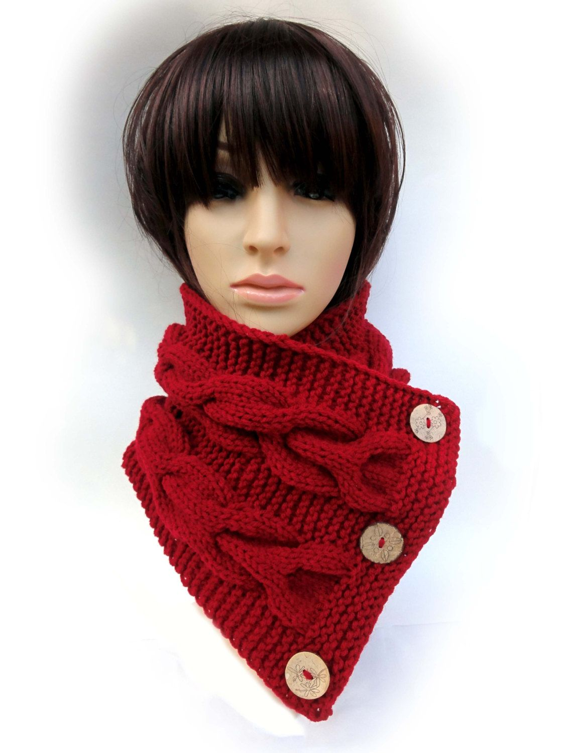 Hand Knitted Cable Cowl with Buttons. Burgundy (Dark Red) or 43 colors. Warm Chunky Women's Scarf. Neck Warmer. Autumn Fall Winter Accessory by VividBear on Etsy