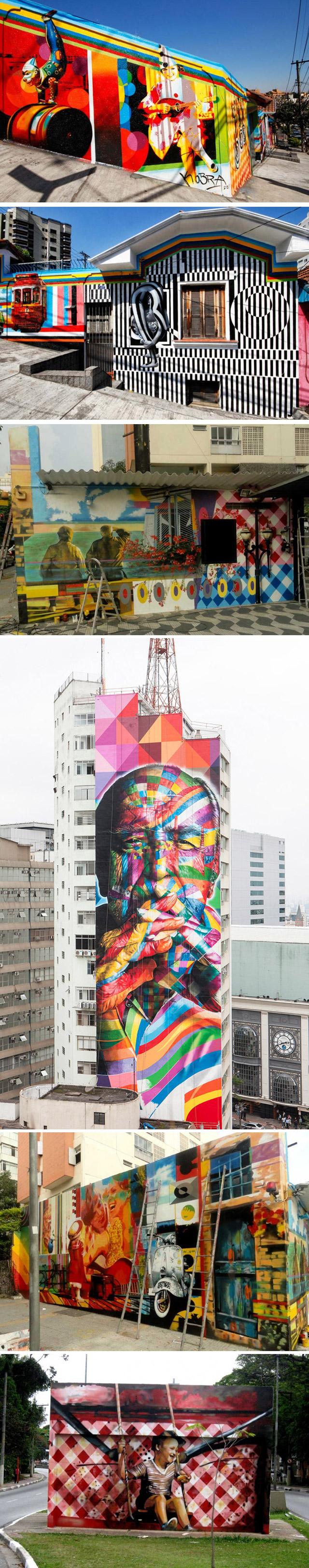 Painéis feitos por Eduardo Kobra em SP