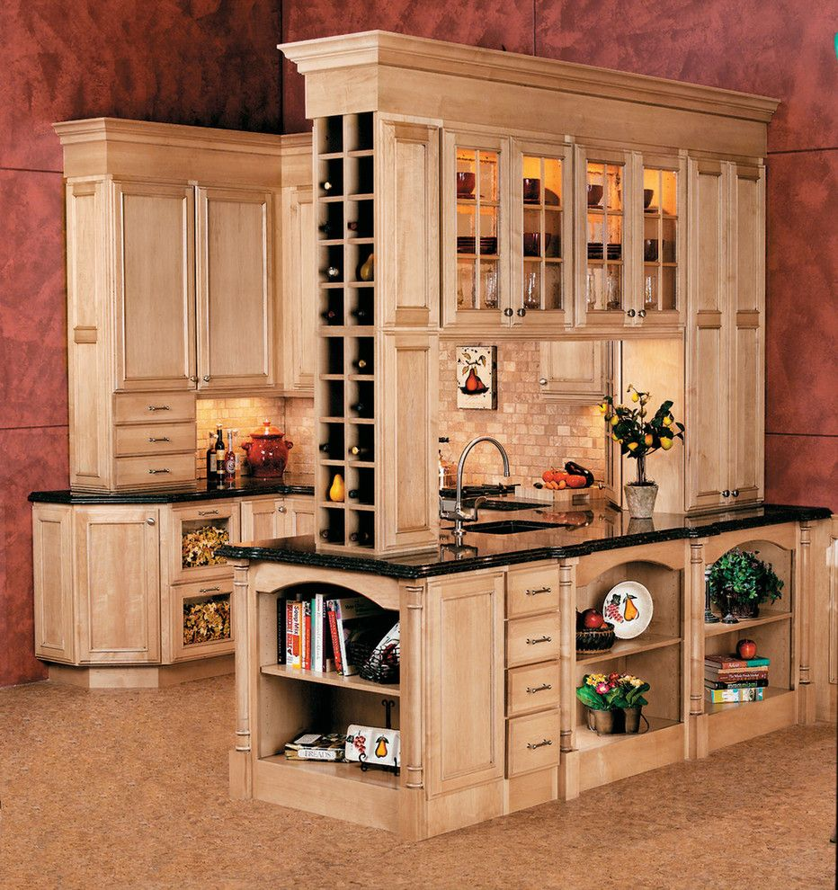 wine rack ideas Kitchen Traditional with black countertops bookshelves brick