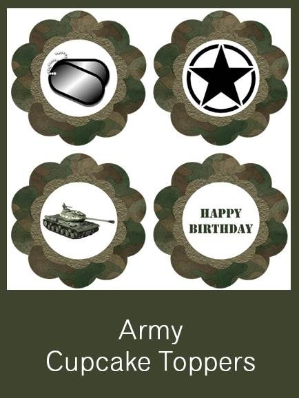 Army Cupcake Toppers FREE PDF Download Party Military