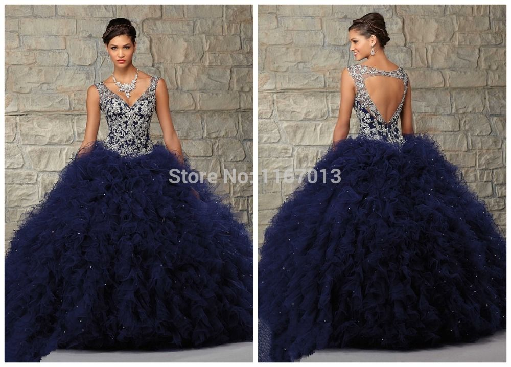 2015 Elegant Navy Blue Ruffled Tulle Quinceanera Dresses Sheer ...