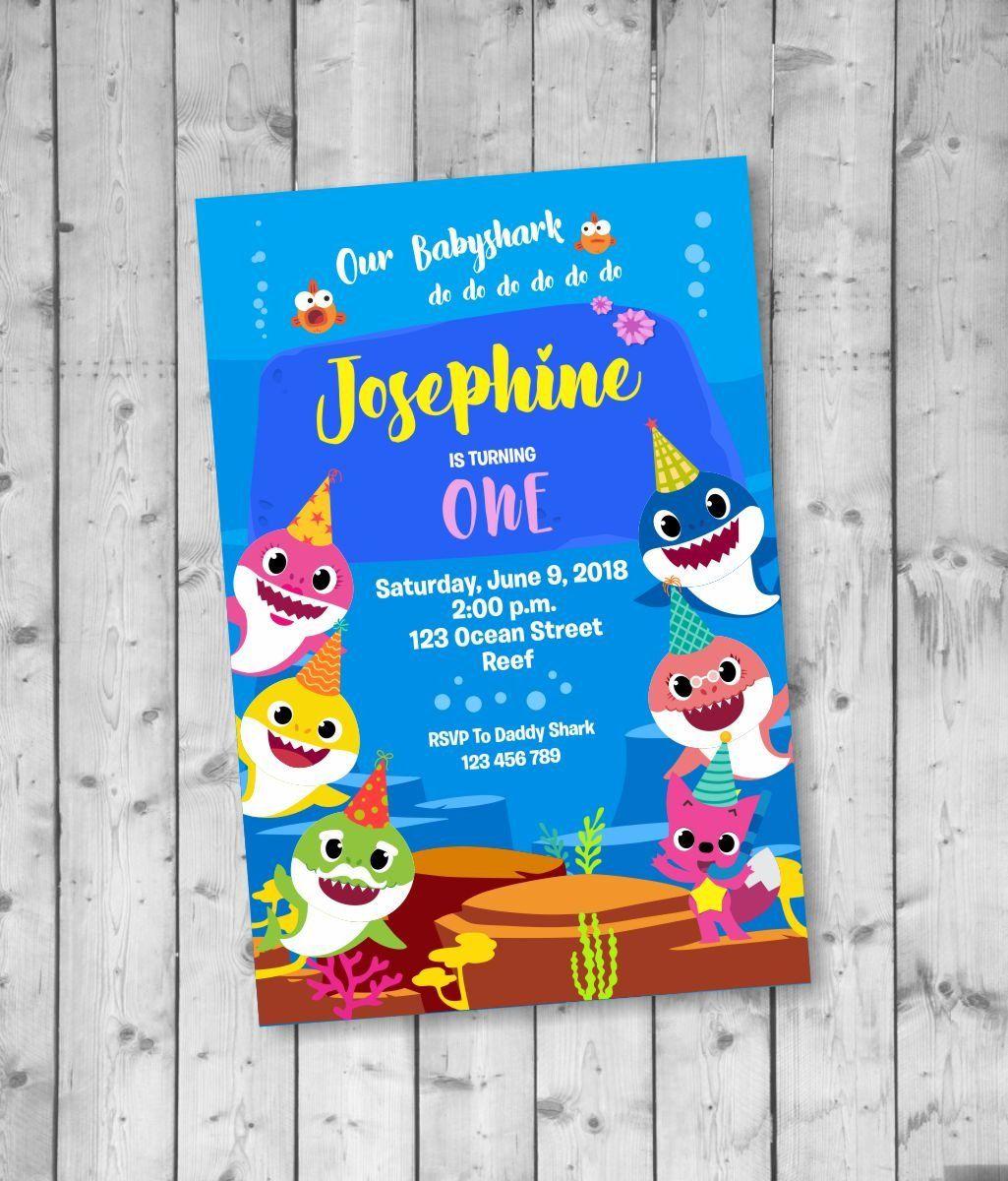 Baby Shark Birthday Invitation Printable Babyshark By Acelea On Etsy