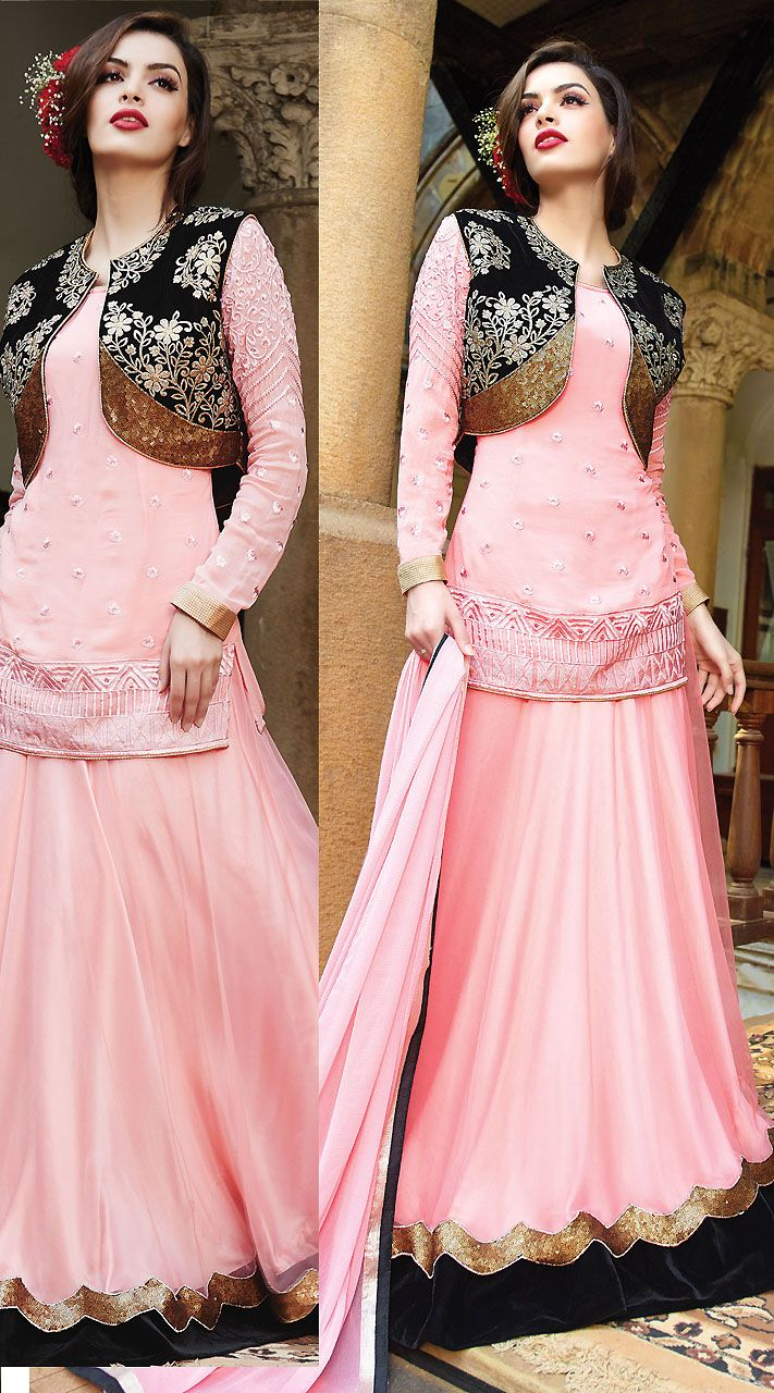 Stylish black koti style light pink georgette lehenga choli dress