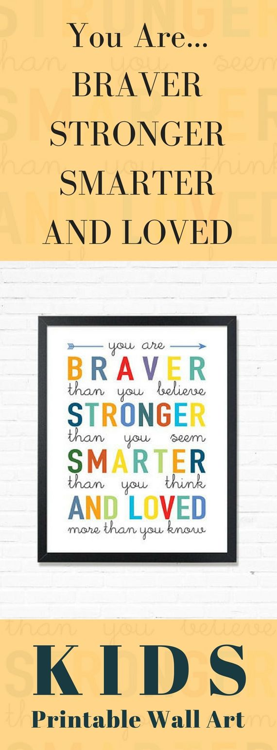 You Are Braver Inspirational Quote | Kids Room Decor | Motivational ...