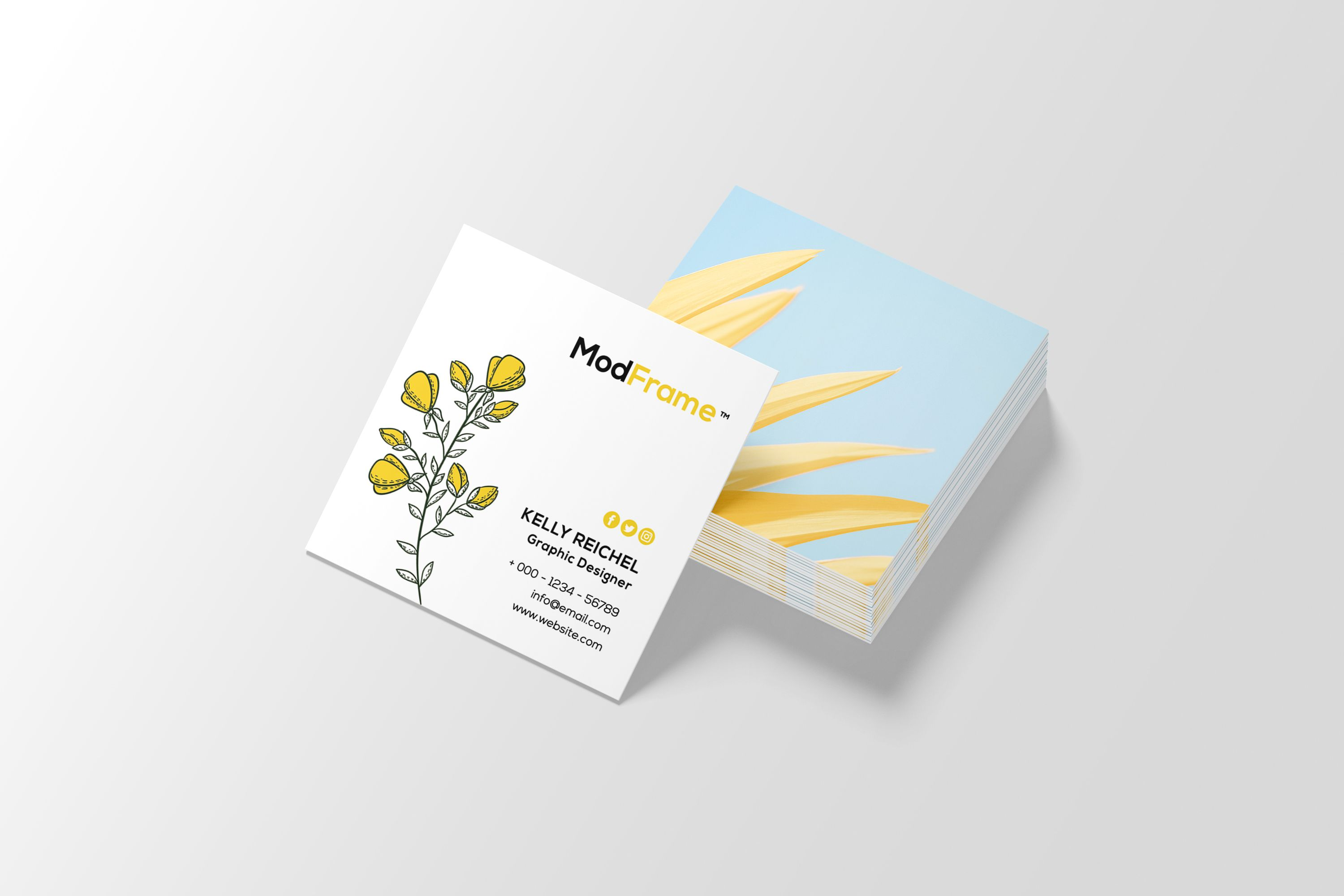Square Business Card Template Instant Download Printable Etsy Printable Business Cards Square Business Cards Square Business Card