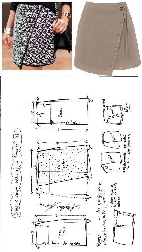 Saia Envelope Assimétrica | diy | Pinterest | Costura, Molde y Falda