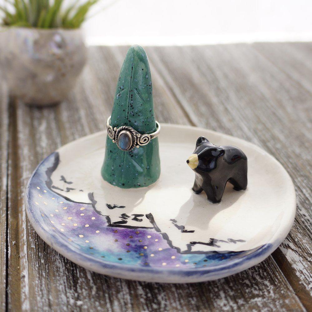 Ceramic Bear Jewelry Dish Ceramic Mountain Art Ceramic Artwork Jewelry Dish Ceramics