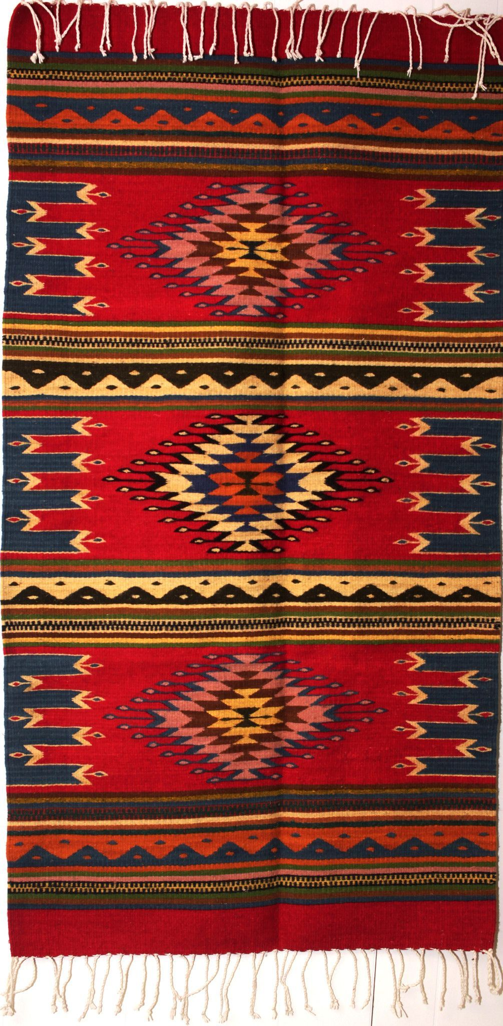 Zapotec Rug Hand Woven 100 Wool Measures 30 X 60 Made In Oaxaca