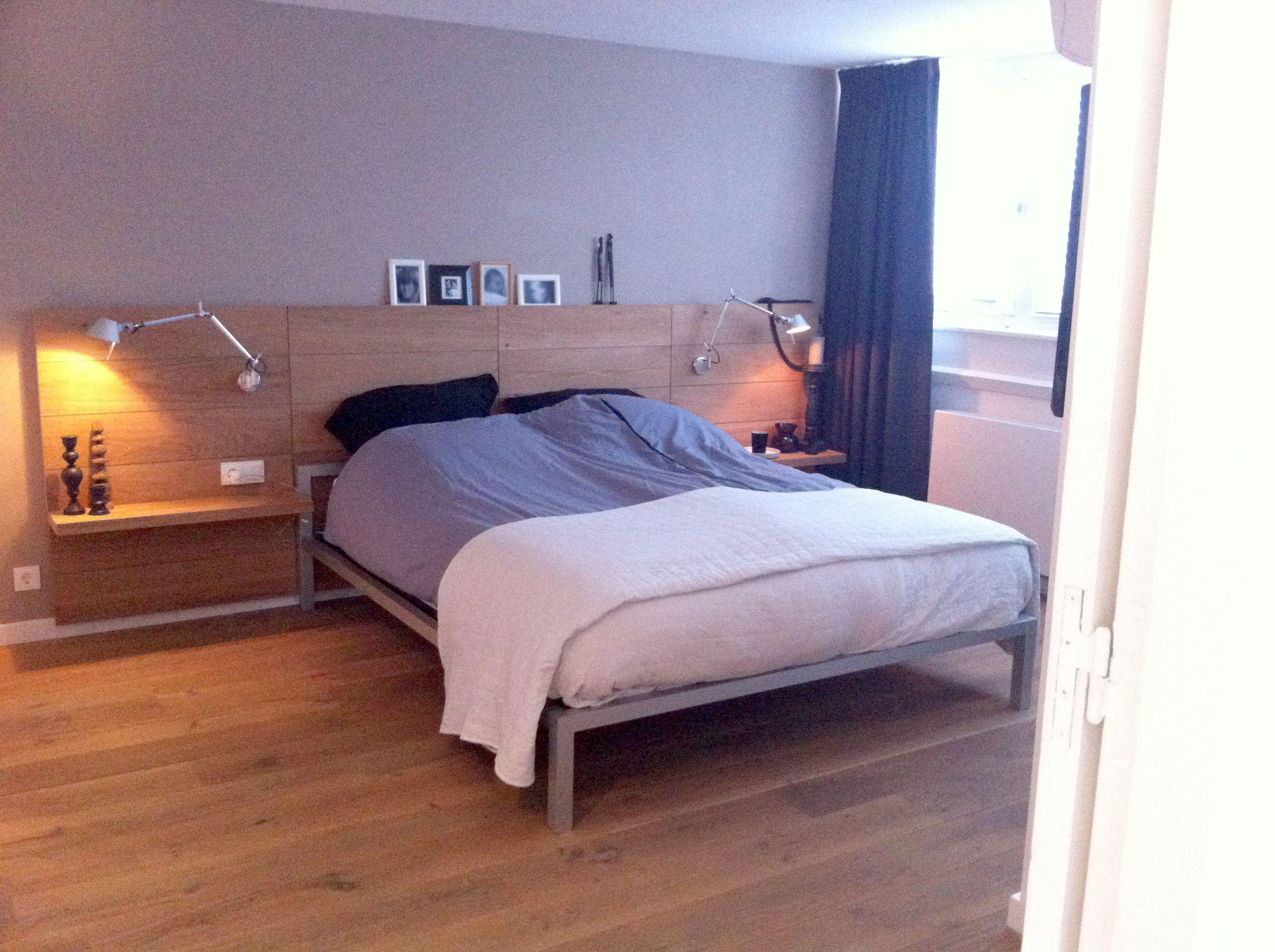 Slaapkamer bedroom hoofdbord headboard eiken hout oak wood