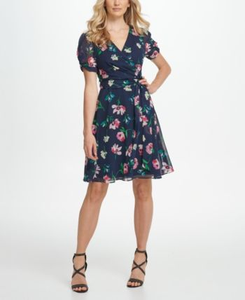 DKNY Knot Puff Sleeve Chiffon Fit  Flare Dress & Reviews - Dresses - Women - Macy's