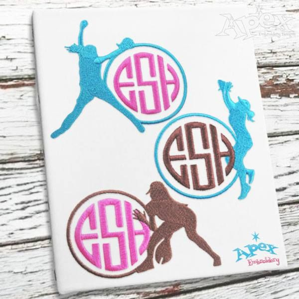"""Girls Softball Monogram Embroidery Frame Design.  You get three designs in three Sizes Fits our  1"""" 2"""" and 3"""" round fonts"""