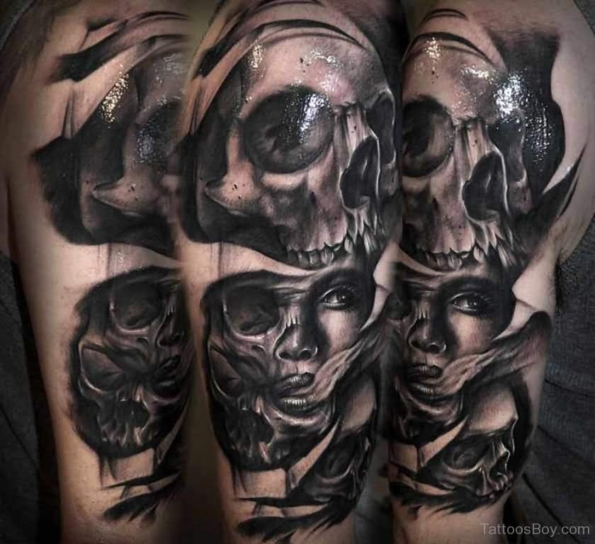 Ripped Skin Horror Girl Face With Skulls Tattoo On Half Sleeve