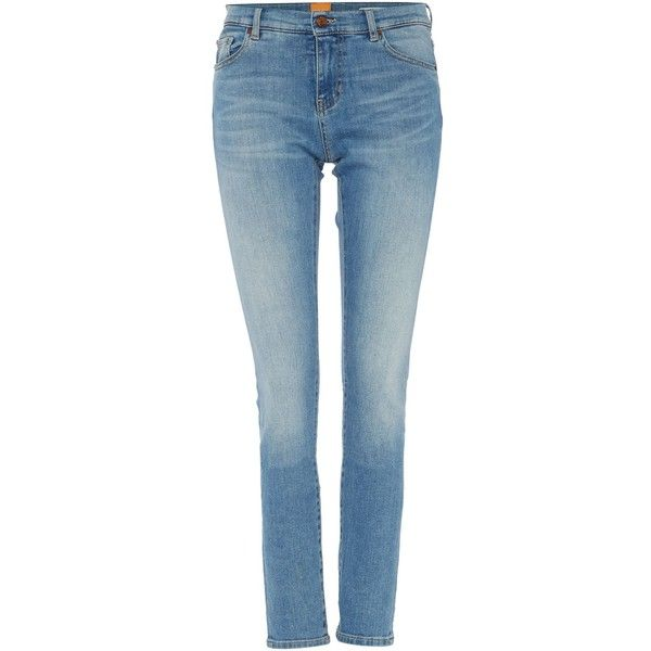 Hugo Boss Orange J21 Skinny Jeans in blue (225 NZD) ❤ liked on Polyvore featuring jeans, blue, women, skinny fit jeans, skinny leg jeans, hugo jeans, cut skinny jeans and blue skinny jeans