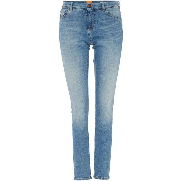 Hugo Boss Orange J21 Skinny Jeans in blue (225 NZD) ❤ liked on Polyvore featuring jeans, blue, women, skinny fit jeans, skinny leg jeans, hugo jeans, cut skinny jeans and blue skinny jeans