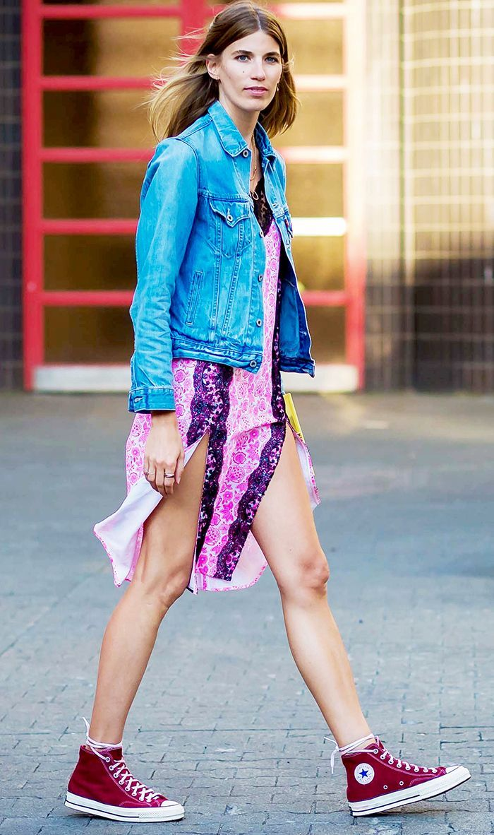 Green dress denim jacket  This TwoPiece Outfit Takes Years Off My Look  Editor Street