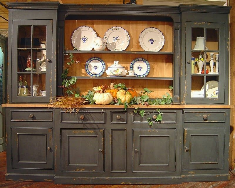 Large 6 section sideboard hutch w 5 drawers 3 cabinets for Painted dining room hutch ideas