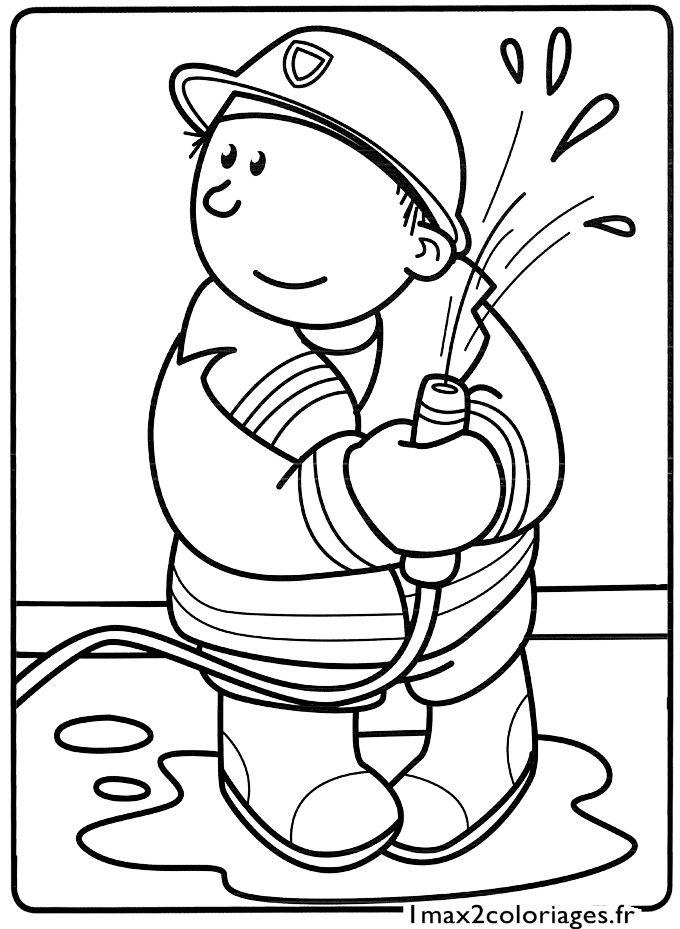 Coloriage le petit pompier pompier firefighter home daycare coloring pages - Pompier dessin ...