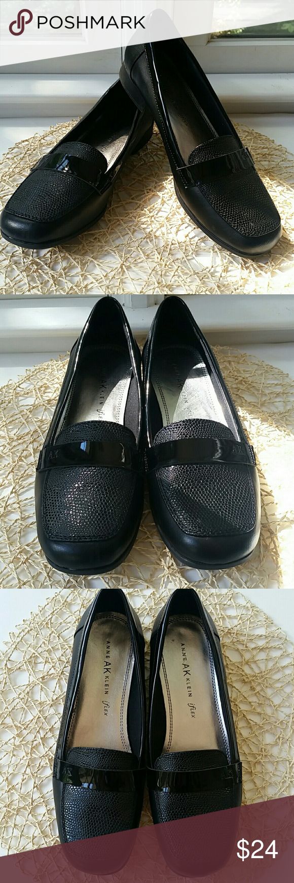 "🆕NWOT Anne Klein iFlex Black Loafer Career Shoes Anne Klein iFlex Black Career Shoes. Crocodile appearance top. Patent leather accents. Squared off toes for maximum toe comfort. Anne Klein quality with iFlex comfort. 1"" Heel Height. Man made materials. Excellent NWOT condition, no issues. Thank you for looking! Xoxoxoxo Anne Klein Shoes Flats & Loafers"