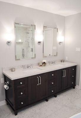 Faux Marble Bathroom With Dark Wood Vanity And Caesarstone Bianco Drift Countertop Marble Bathroom Vanity Wood Vanity