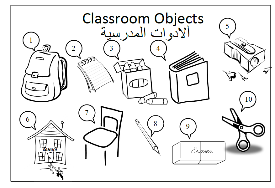 School Objects In Arabic ألادوات المدرسية Learning Arabic Coloring Pages Learn Arabic Online