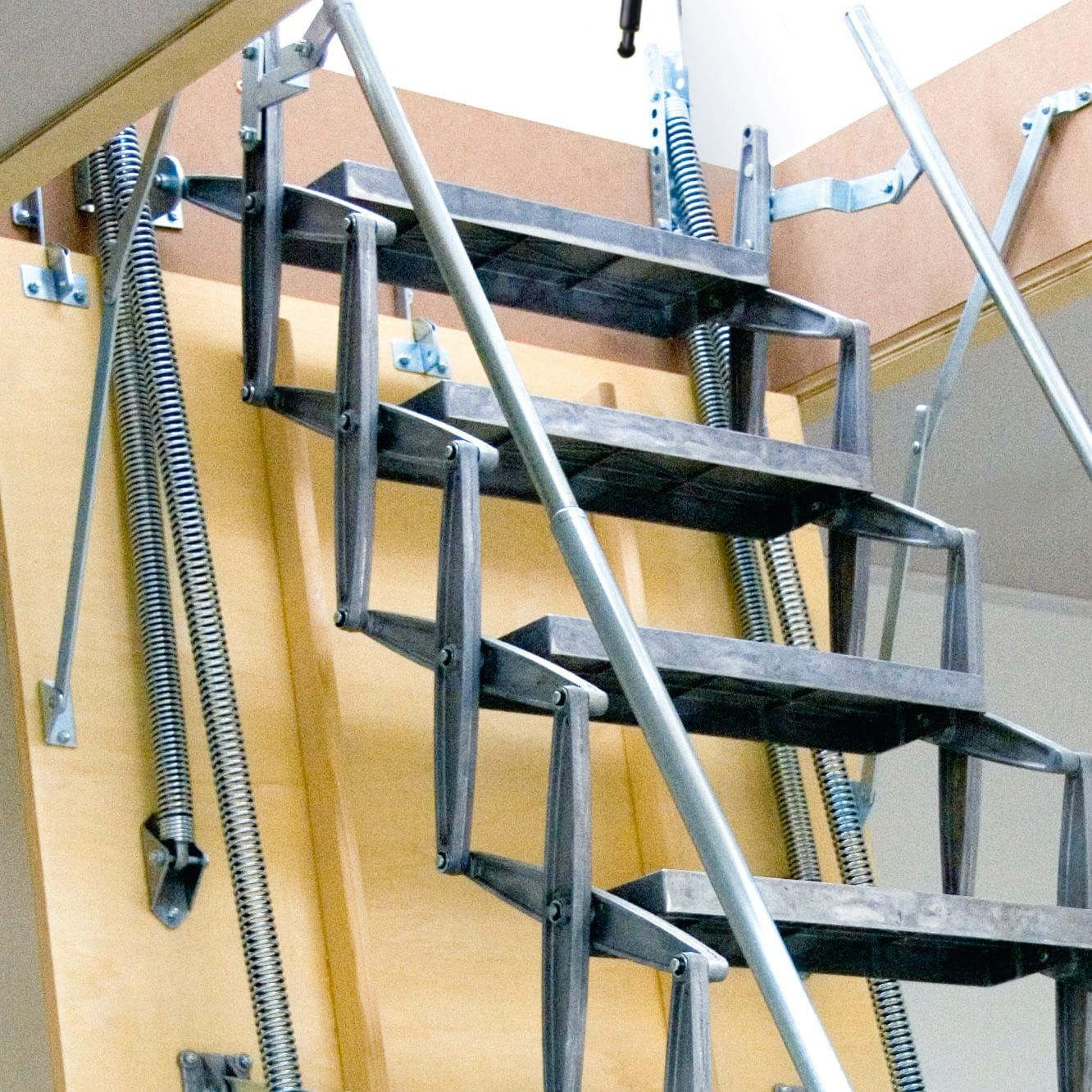 Motorized Ladder Accordion Protection Aluminum Retractable   Folding Attic Stairs With Handrail   Attic Remodel   Attic Renovation   Ceiling   Stira   Rainbow F2260