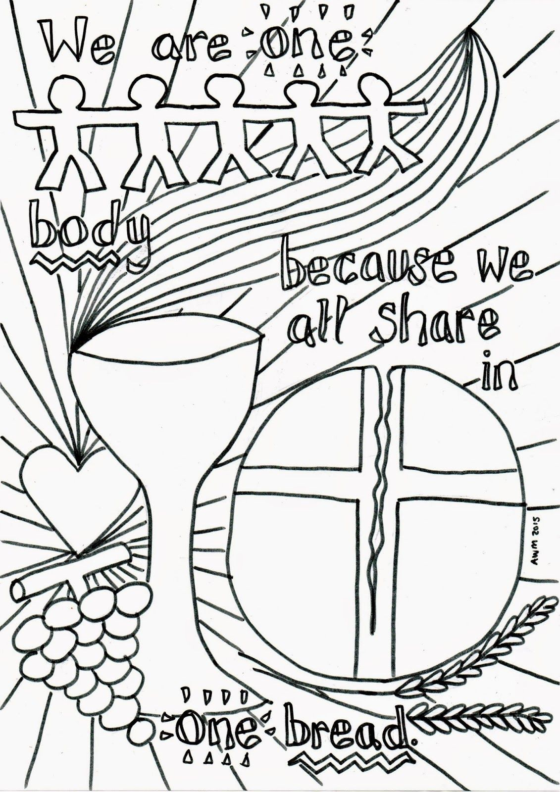 Holy Communion Reflective Colouring Sheet Flame Creative