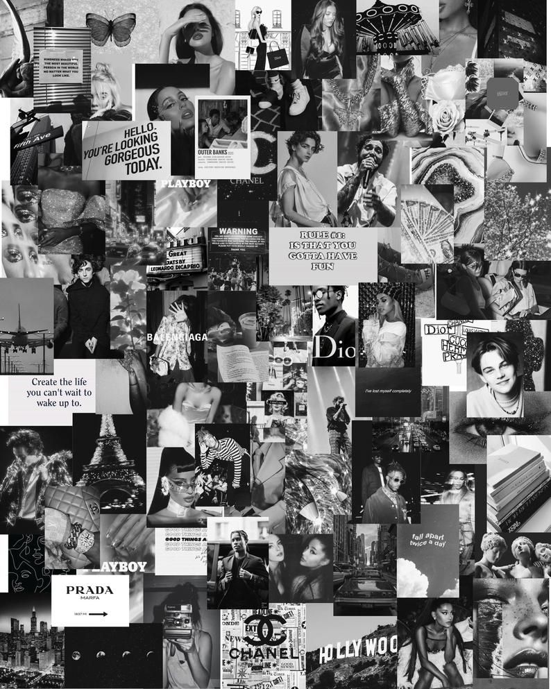 80 Pcs Black And White Aesthetic Collage Kit In 2020 Black And White Aesthetic Black And White Photo Wall Black And White Picture Wall