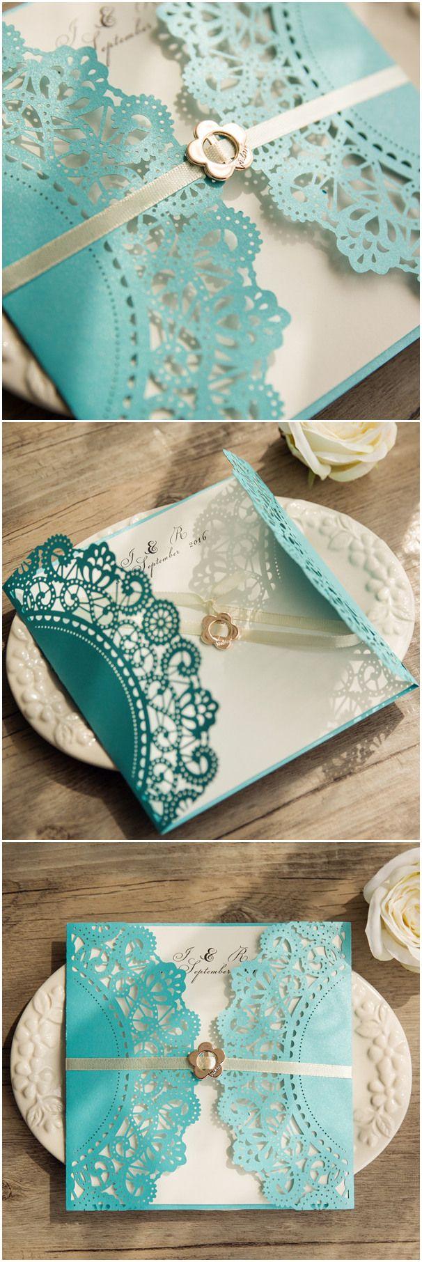 Tiffany blue themed lace design laser cut wedding invitations ...