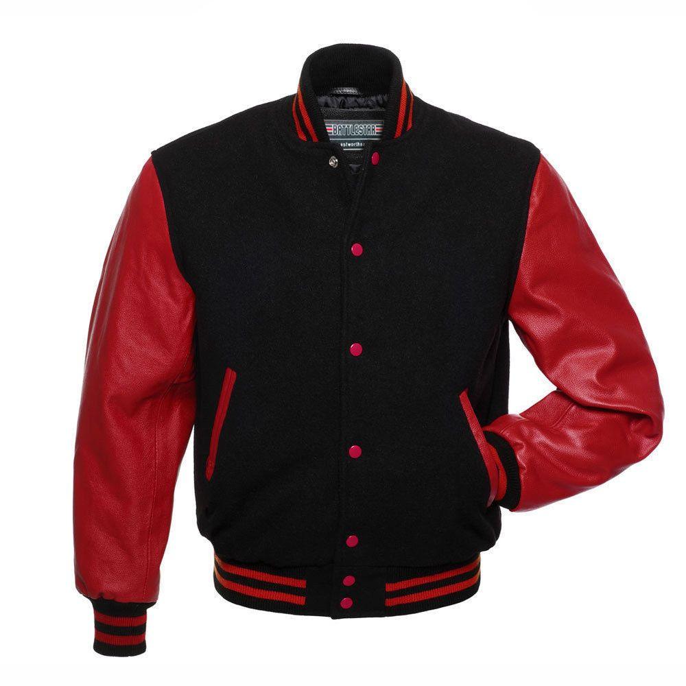 Black Wool Varsity Letterman Bomber Baseball Jacket Red Pure Leather Sleeves Battlestar Varsi Black Letterman Jacket Leather Varsity Jackets Varsity Jacket [ 1000 x 1000 Pixel ]