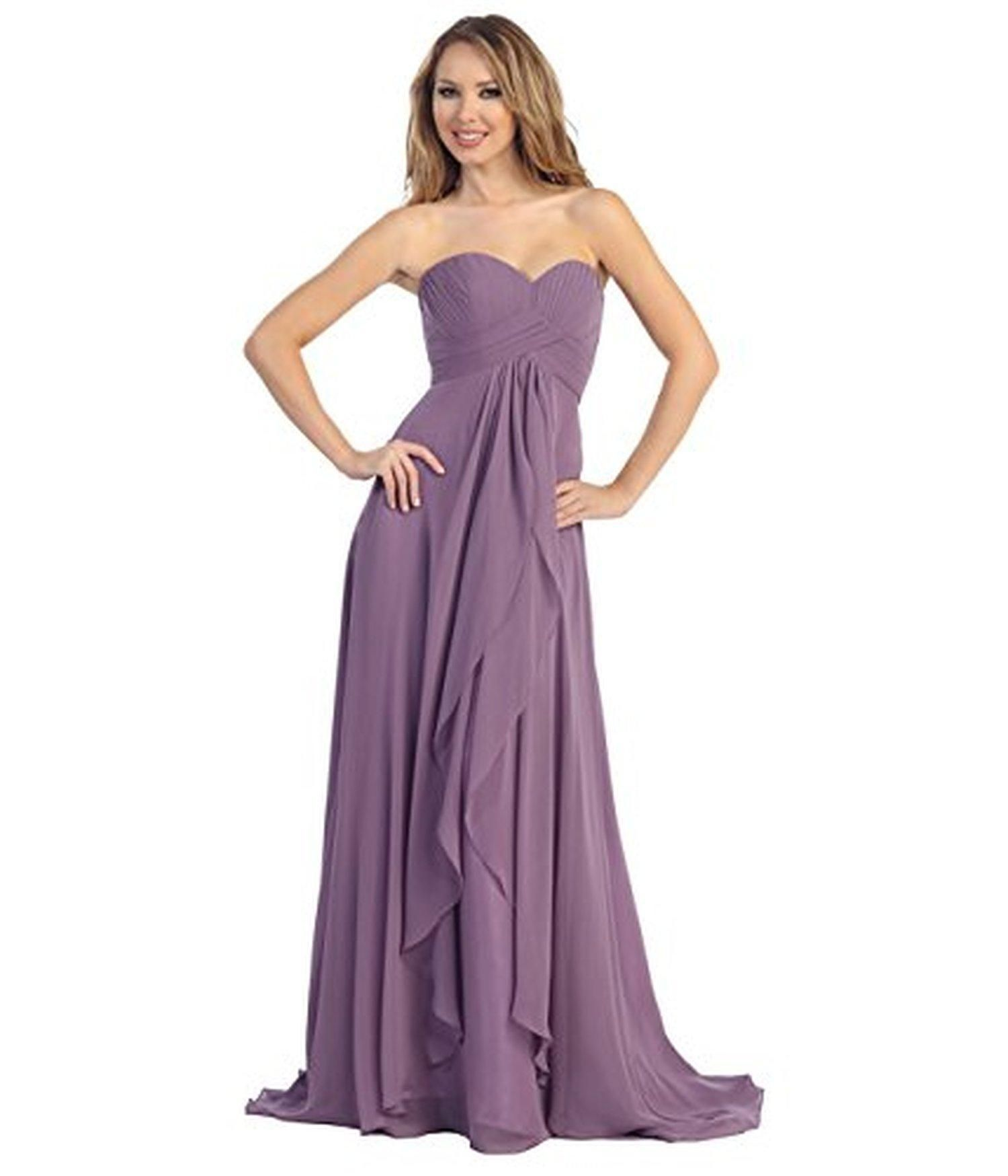 Mauve Pleated Chiffon Strapless Sweetheart Gown for Homecoming 2016 ...