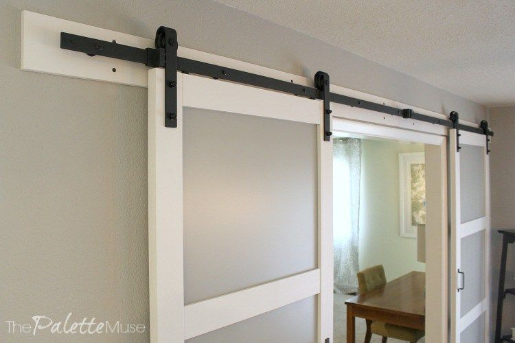 Modern Barn Doors With Frosted Glass And Matte Black Farmhouse Style Hardware Glass Barn Doors Hanging Barn Doors Double Barn Doors