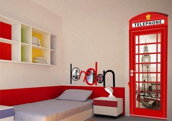 Sticker cabine t l phonique sticker london inspiration chambre d 39 enfant pinterest cabine - Idee deco chambre london ...