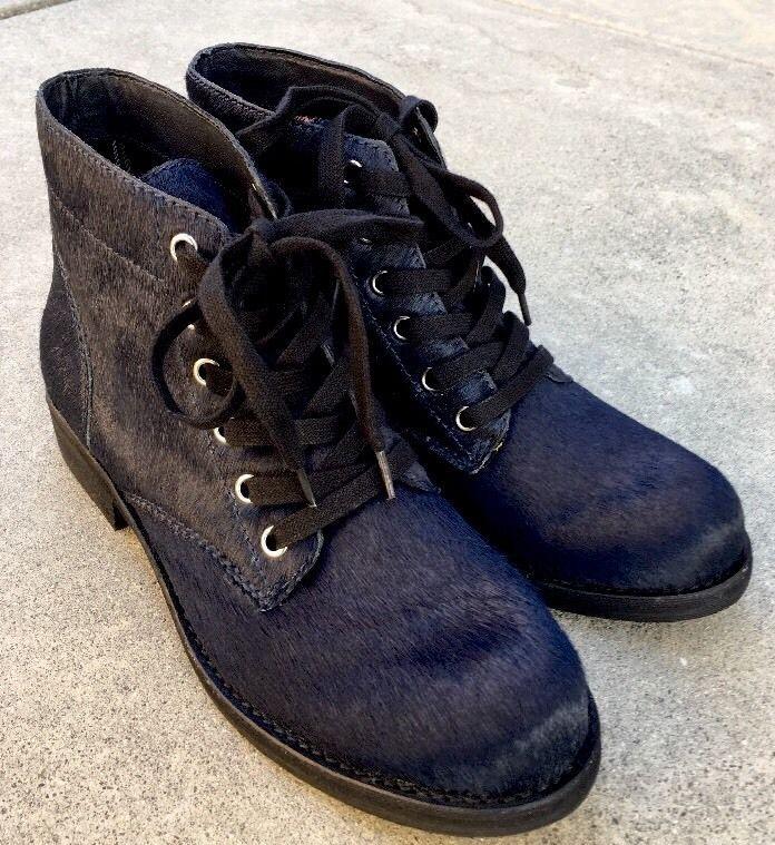a6ff0143de613 Sam Edelman BLEECKER Combat Boots Women s Lace-Up Calf Fur Navy Size 7.5   SamEdelman  CombatBoots