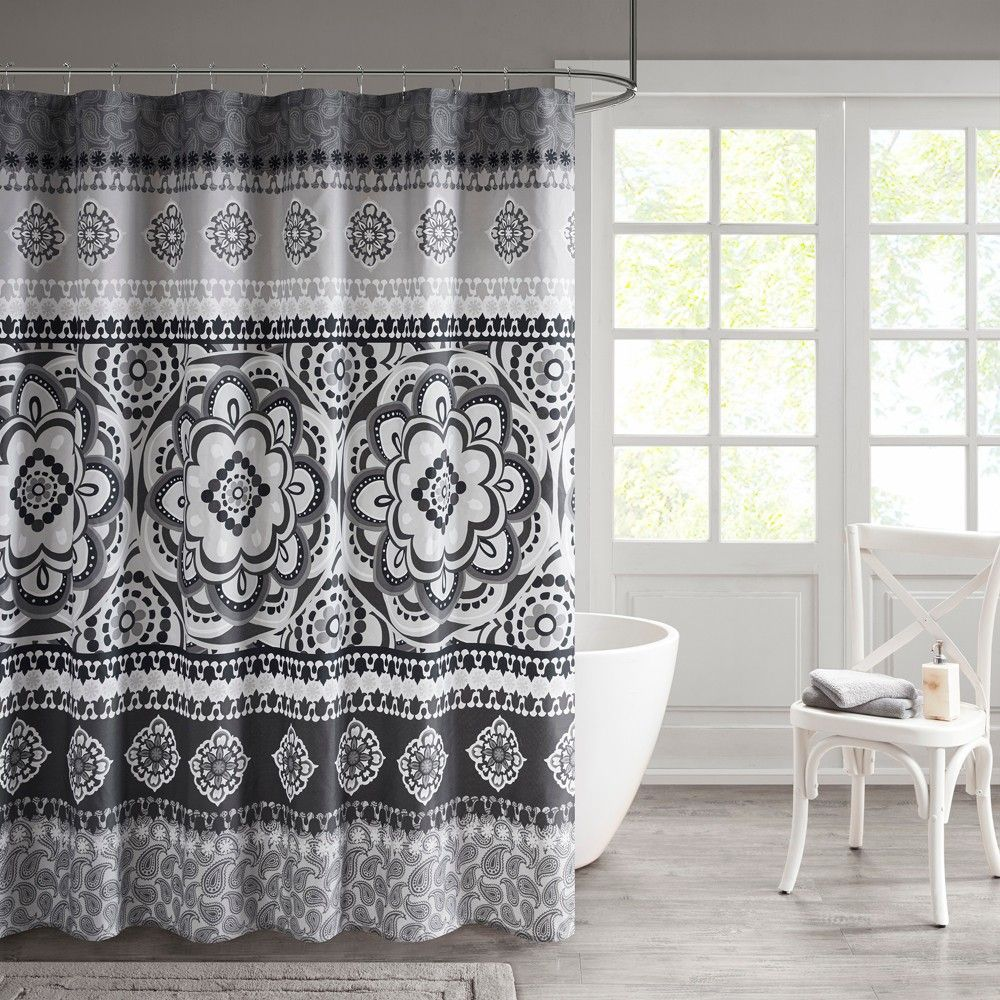 Patsy Printed Shower Curtain Charcoal Grey