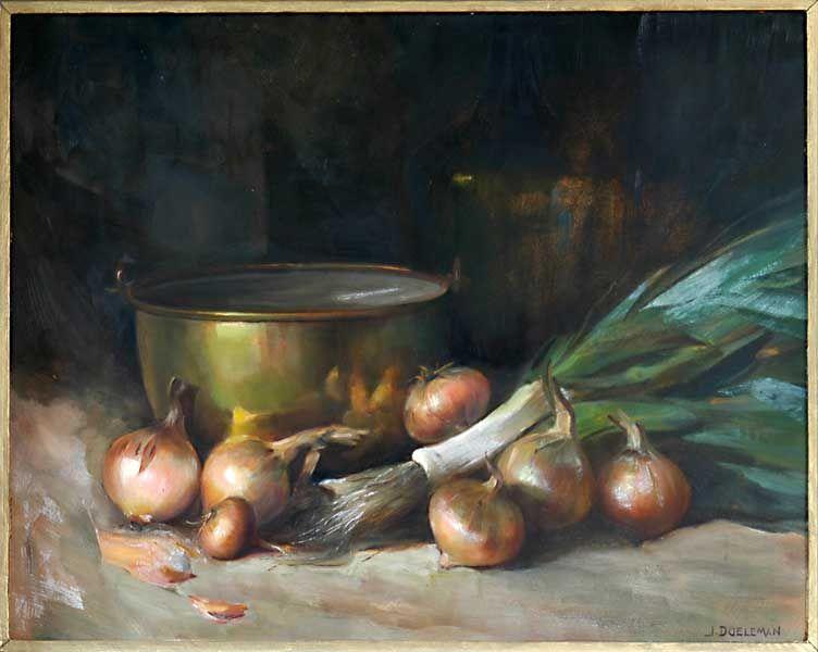 Still life with copper tray, onions and leek by Johan Doeleman, 1930-1940. Flipje en Streekmuseum Tiel, CC BY