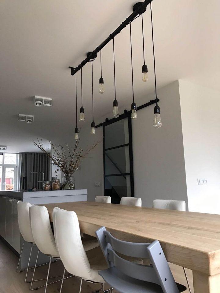 Industriele loftdeur eettafel lamp loftdeur pinterest for Industriele lamp keuken