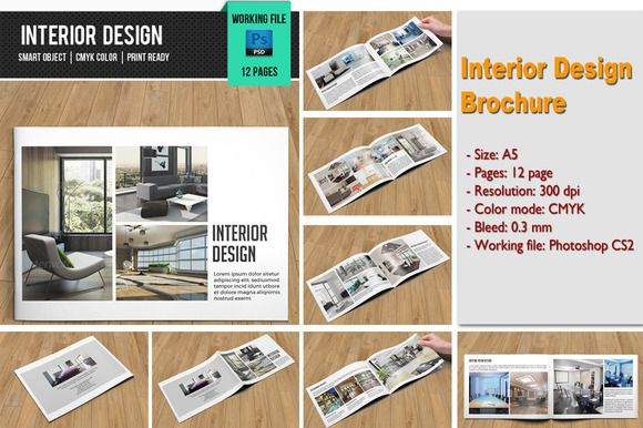 Interior Design BrochureV  Brochures Template And Corporate