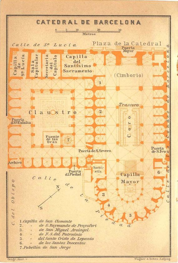 1912 Barcelona Cathedral Floor Plan Gothic Architecture How To Plan Cathedral Floor Plans