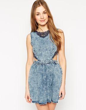Neon Rose Denim Dress With Crochet Detail