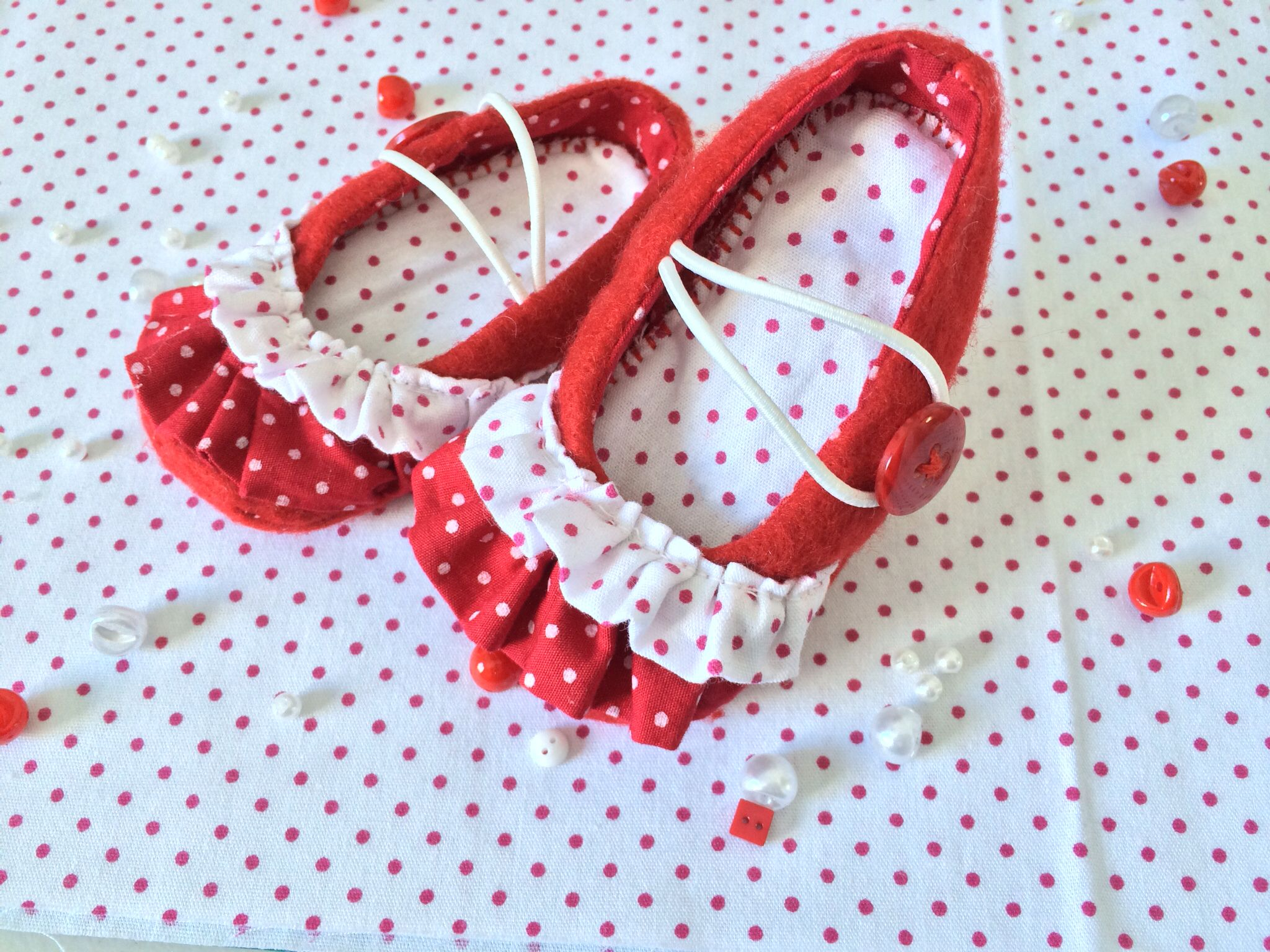 Red baby felt shoes