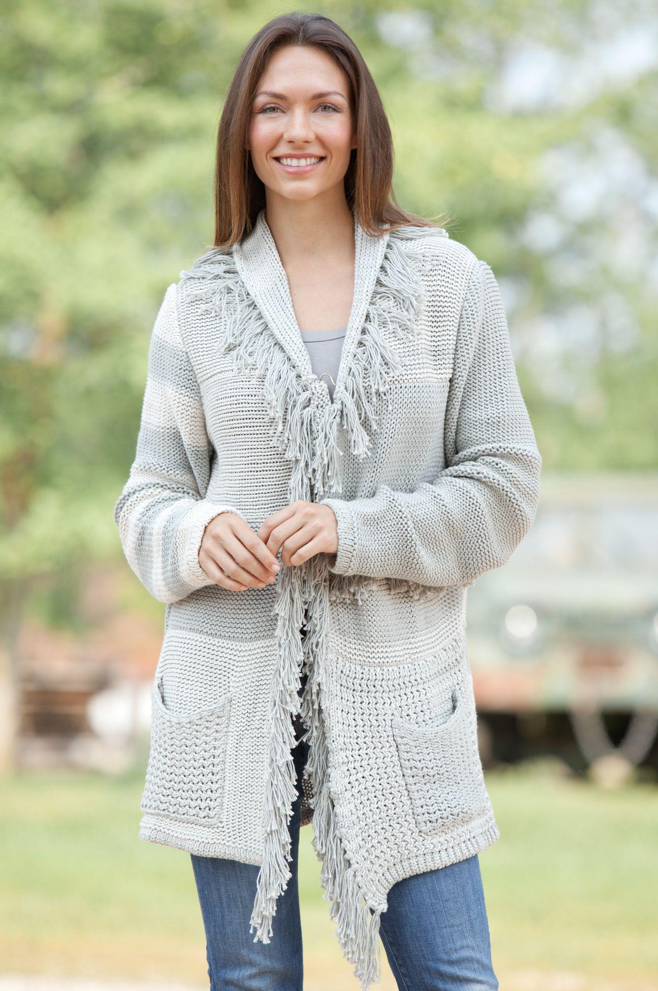Women's Fanciful Fringe Handmade Cotton Cardigan Sweater Style ...