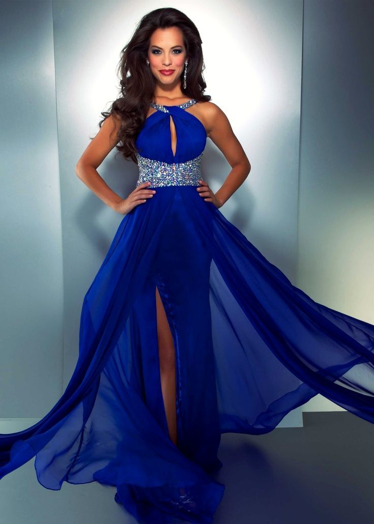 Bridesmaid Dresses Royal Blue And Silver Gown