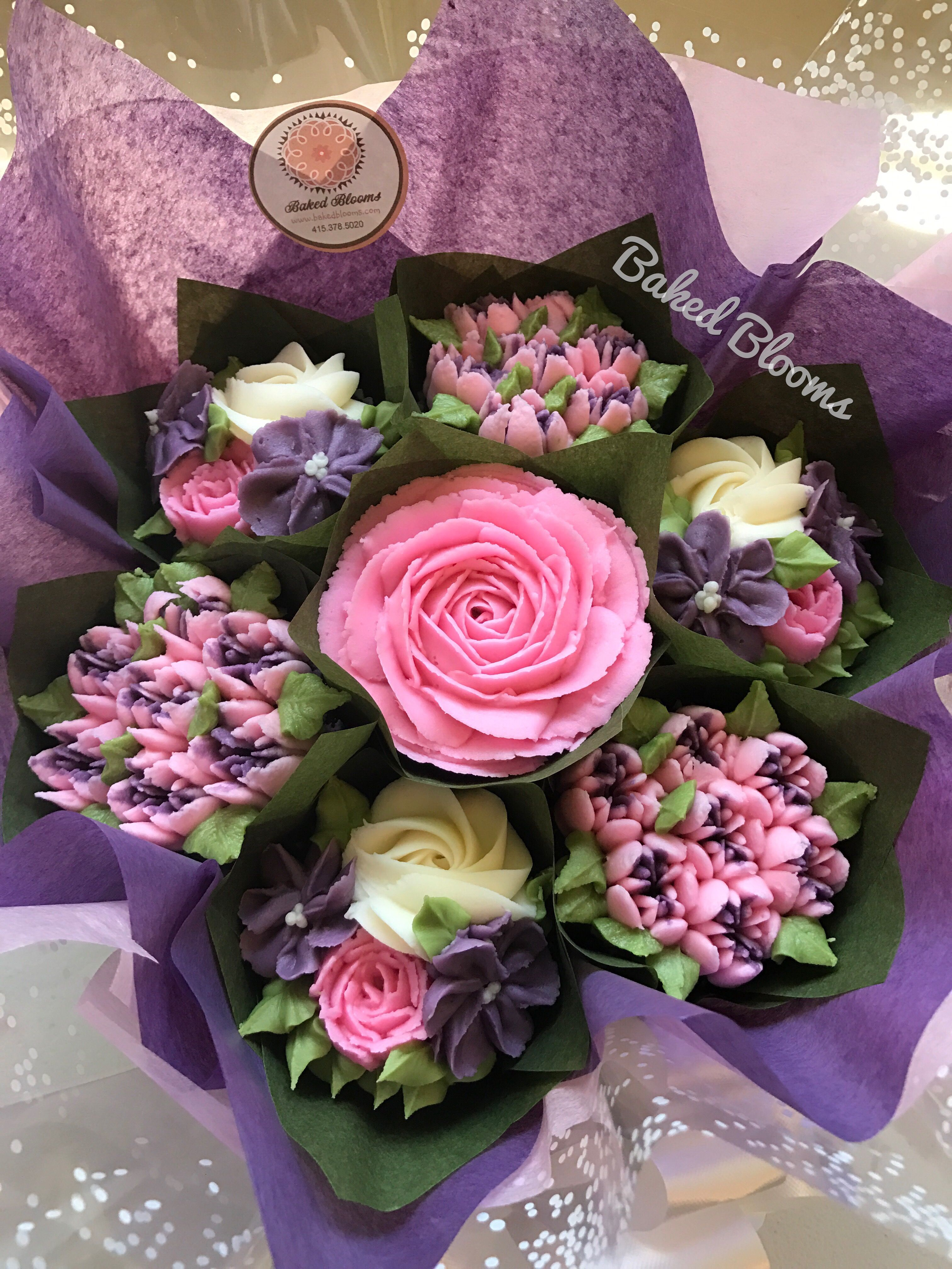 Small pink and purple birthday bouquet bakedblooms cakes small pink and purple birthday bouquet bakedblooms izmirmasajfo Image collections