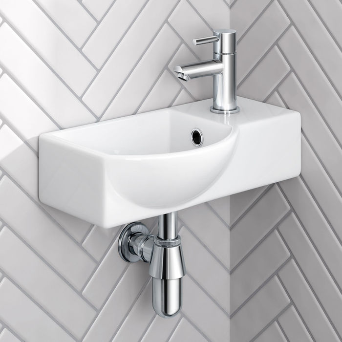 Isla Right Hand Wall Hung Cloakroom Sink Small Soak Com With Images Cloakroom Basin Small Downstairs Toilet Small Toilet Room