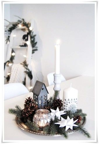 Pinecone and sliver tray Christmas table setting 2015 - snowflake craft, candle